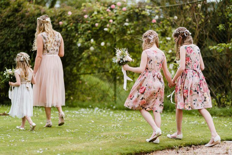 Blush Bridal Party | Outdoor Ceremony & Rustic Barn Reception at Pennard House Somerset | John Barwood Photography