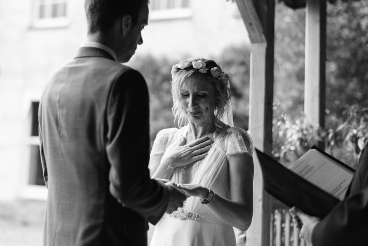 Wedding Ceremony | Bride in Jenny Packham Gown | Groom in Hugo Morris Tweed Suit | Outdoor Ceremony & Rustic Barn Reception at Pennard House Somerset | John Barwood Photography