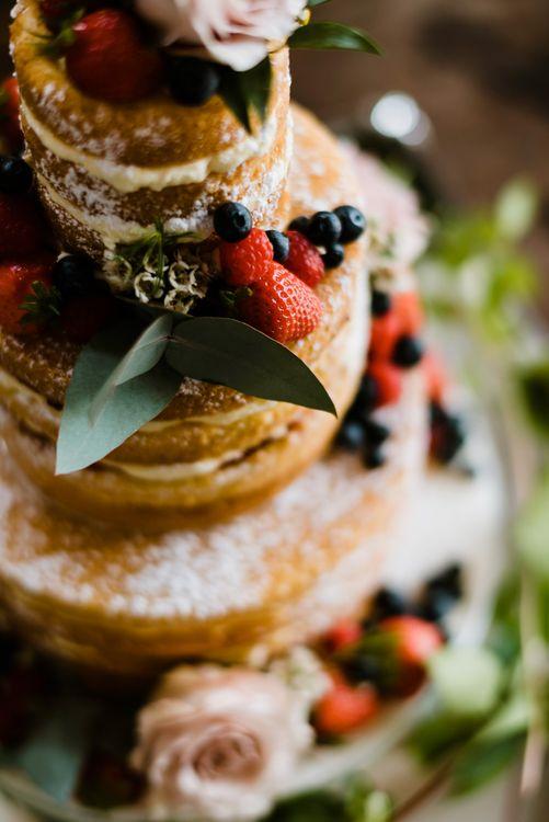 Naked Sponge Cake with Fruit Decor | Outdoor Ceremony & Rustic Barn Reception at Pennard House Somerset | John Barwood Photography