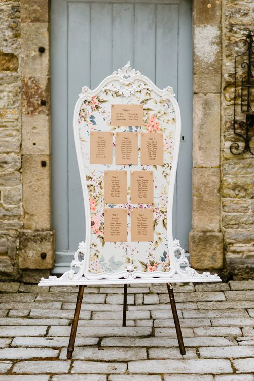Vintage Table Plan | Outdoor Ceremony & Rustic Barn Reception at Pennard House Somerset | John Barwood Photography