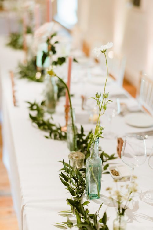 Blush Taper Candles & Greenery | Outdoor Ceremony & Rustic Barn Reception at Pennard House Somerset | John Barwood Photography
