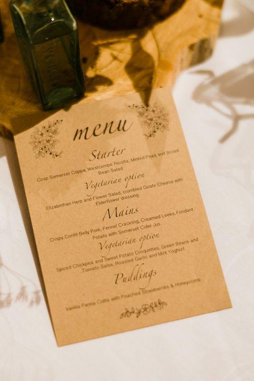 Craft Paper Menu Card | Outdoor Ceremony & Rustic Barn Reception at Pennard House Somerset | John Barwood Photography