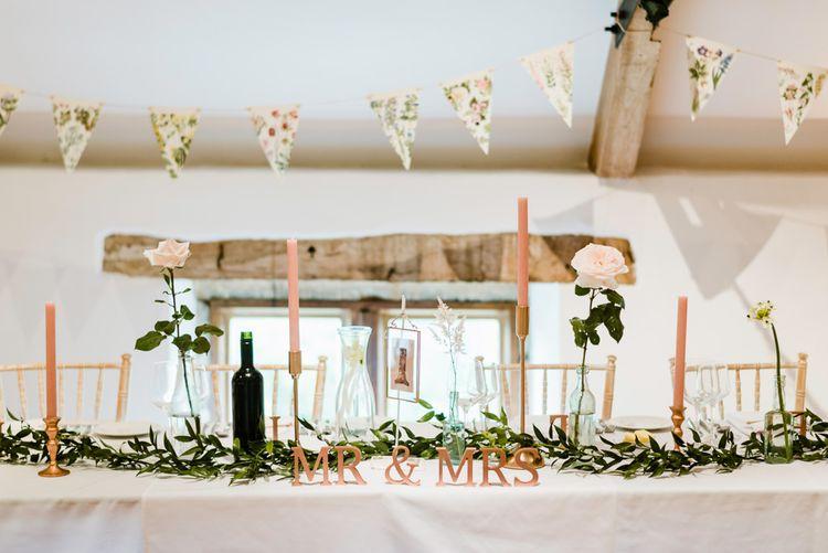 Top Table Wedding Decor | Outdoor Ceremony & Rustic Barn Reception at Pennard House Somerset | John Barwood Photography