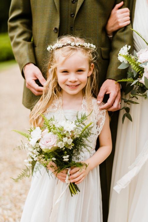 Flower Girl in Ivory Monsoon Dress | Outdoor Ceremony & Rustic Barn Reception at Pennard House Somerset | John Barwood Photography