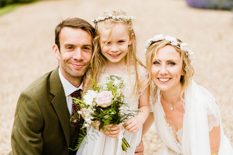 Family Portrait | Bride in Jenny Packham Gown | Groom in Hugo Morris Tweed Suit | Outdoor Ceremony & Rustic Barn Reception at Pennard House Somerset | John Barwood Photography