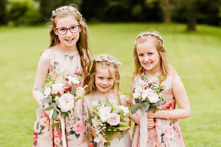 Flower Girls in monsoon Dresses | Outdoor Ceremony & Rustic Barn Reception at Pennard House Somerset | John Barwood Photography