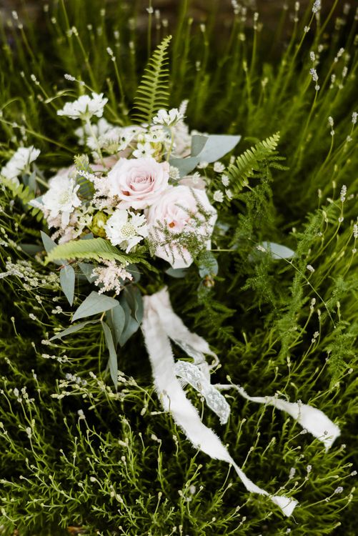 Romantic Bridal Bouquet with Ribbon | Outdoor Ceremony & Rustic Barn Reception at Pennard House Somerset | John Barwood Photography