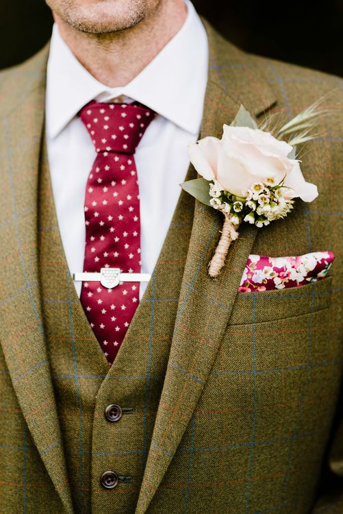 Groom in Hugo Morris Tweed Suit | Outdoor Ceremony & Rustic Barn Reception at Pennard House Somerset | John Barwood Photography