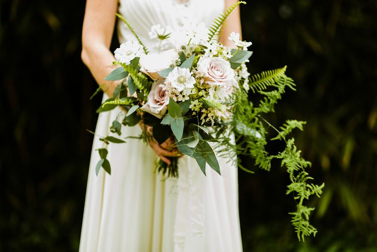 Oversized Bridal Bouquet | Bride in Jenny Packham Gown | Outdoor Ceremony & Rustic Barn Reception at Pennard House Somerset | John Barwood Photography