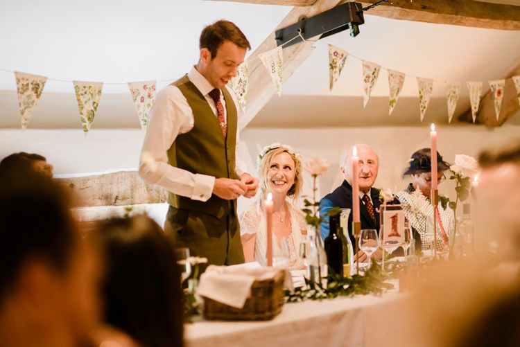 Speeches | Bride in Jenny Packham Gown | Groom in Hugo Morris Tweed Suit | Outdoor Ceremony & Rustic Barn Reception at Pennard House Somerset | John Barwood Photography