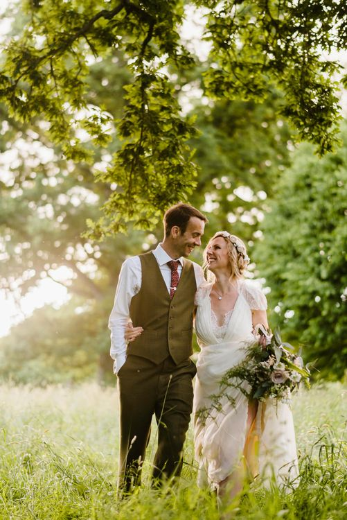 Bride in Jenny Packham Gown | Groom in Hugo Morris Tweed Suit | Outdoor Ceremony & Rustic Barn Reception at Pennard House Somerset | John Barwood Photography