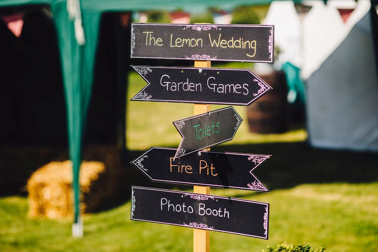Wedding Sign | DIY At Home Marquee Wedding | J S Coates Wedding Photography