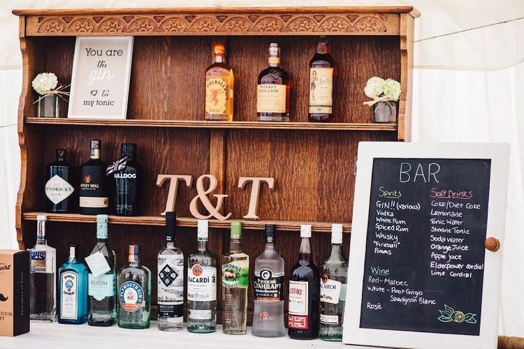 Gin Bar | DIY At Home Marquee Wedding | J S Coates Wedding Photography