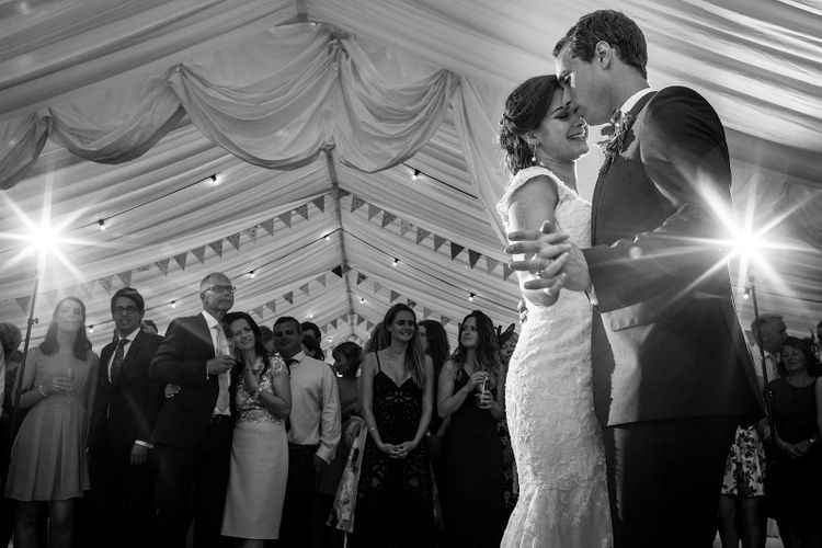 First Dance | Bride in Morlee | Groom in Hugo Boss Suit | DIY At Home Marquee Wedding | J S Coates Wedding Photography