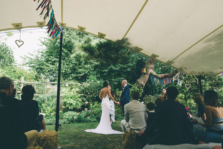 Garden Wedding With Stretch Tent With Bride In Karen Willis Holmes Sequinned Gown & Images and Film From Wagtail Productions