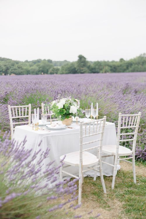 Wedding table in lavender fields