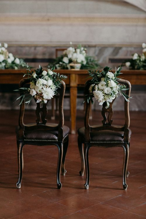 White & Greenery Floral Chair Back Decor | That Day Wedding Planner | Carla Penoncelli Photography