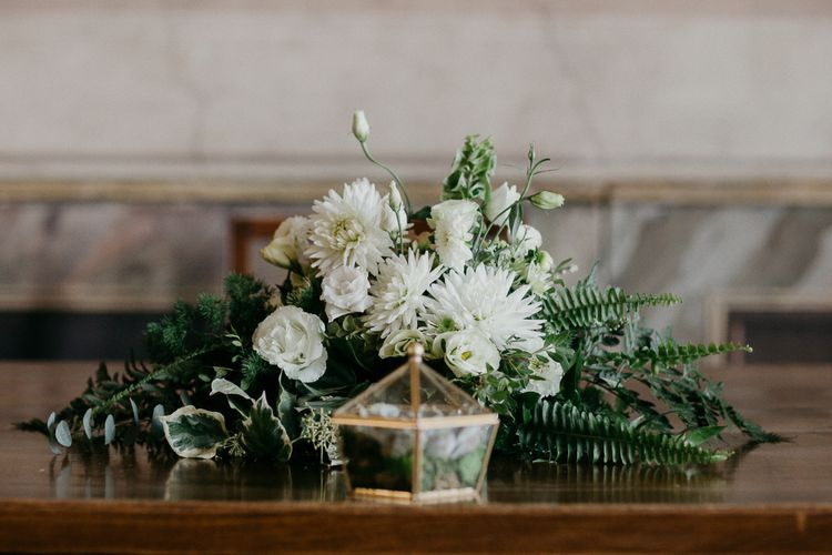 White & Greenery Flowers with Copper Terrarium Ring Box | That Day Wedding Planner | Carla Penoncelli Photography