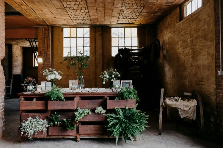 Rustic Chest with Book Favours, Greenery & Copper Terrarium Decor | That Day Wedding Planner | Carla Penoncelli Photography