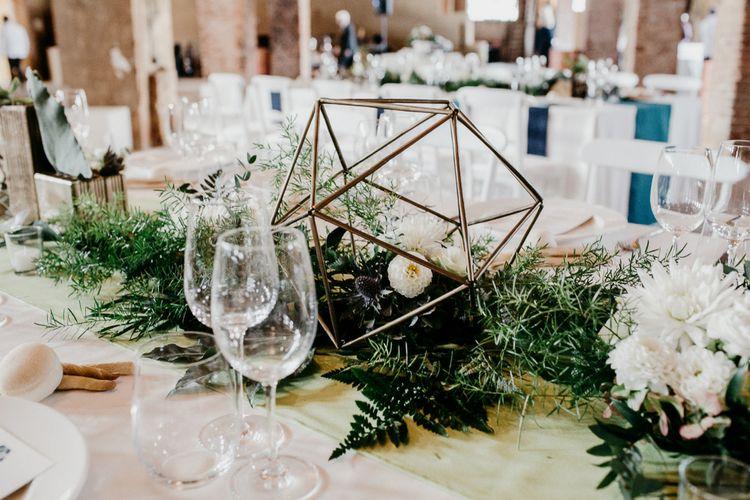 Copper Terrarium & White Flower & Greenery Decor | That Day Wedding Planner | Carla Penoncelli Photography