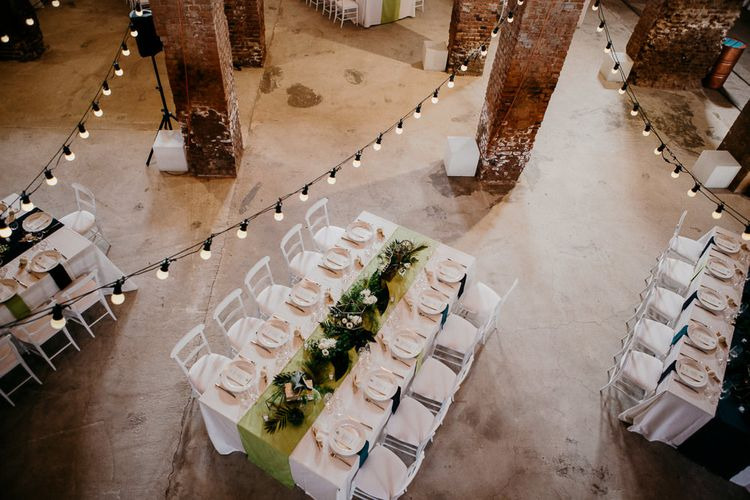 Industrial Wedding Venue with Festoon Lights | That Day Wedding Planner | Carla Penoncelli Photography