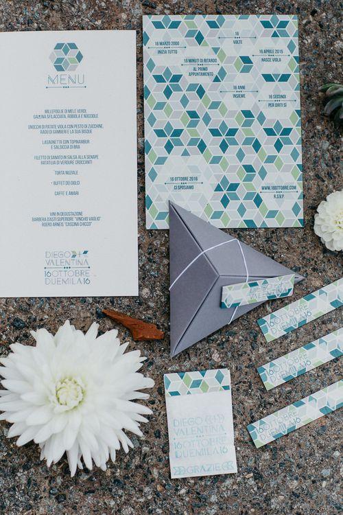 Geometric Wedding Stationery | That Day Wedding Planner | Carla Penoncelli Photography