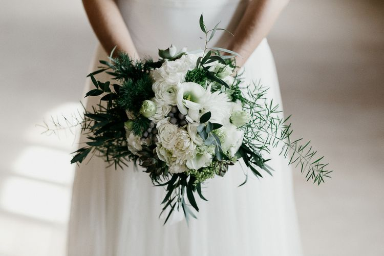 White & Green Wedding Bouquet | Bride in Rembo Styling Dress & Groom | That Day Wedding Planner | Carla Penoncelli Photography