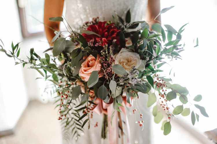 Bridal Bouquet | Tropical Green & Fuchsia Pink Outdoor Wedding at Castellina de Miremont, Italy Planned & Styled by Come le Ciliegie Wedding & Events | Images by Effeanfotografie | Film by Headshot Weddings