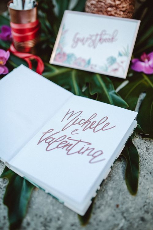 Guest Book | Tropical Green & Fuchsia Pink Outdoor Wedding at Castellina de Miremont, Italy Planned & Styled by Come le Ciliegie Wedding & Events | Images by Effeanfotografie | Film by Headshot Weddings