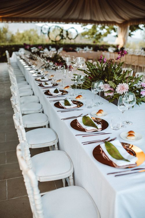 Elegant Tablescape | Tropical Green & Fuchsia Pink Outdoor Wedding at Castellina de Miremont, Italy Planned & Styled by Come le Ciliegie Wedding & Events | Images by Effeanfotografie | Film by Headshot Weddings