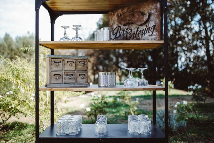 Bar | Drinks Stations | Tropical Green & Fuchsia Pink Outdoor Wedding at Castellina de Miremont, Italy Planned & Styled by Come le Ciliegie Wedding & Events | Images by Effeanfotografie | Film by Headshot Weddings