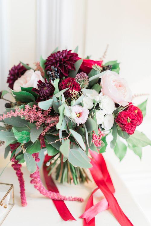 Red & Greenery Wedding Bouquet