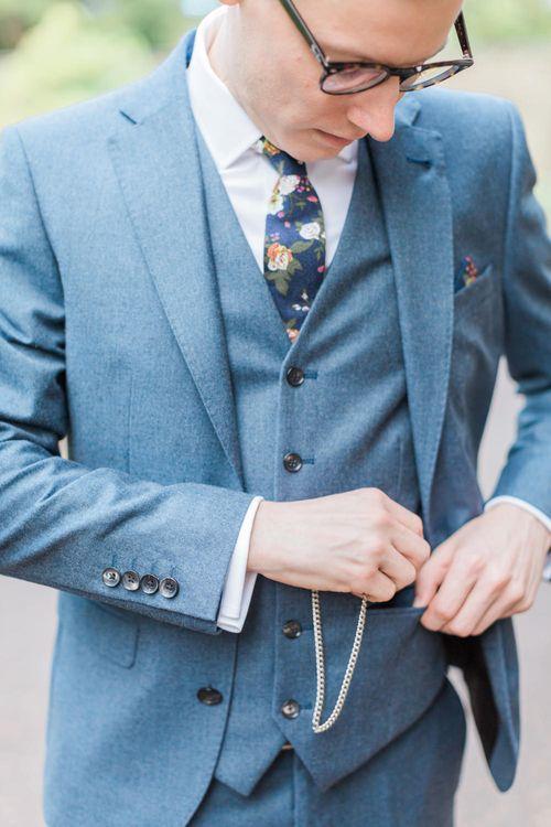Groom in Next Three Piece Light Blue Suit