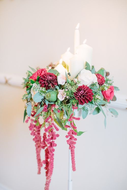 Elegant Red & Greenery with Church Candles