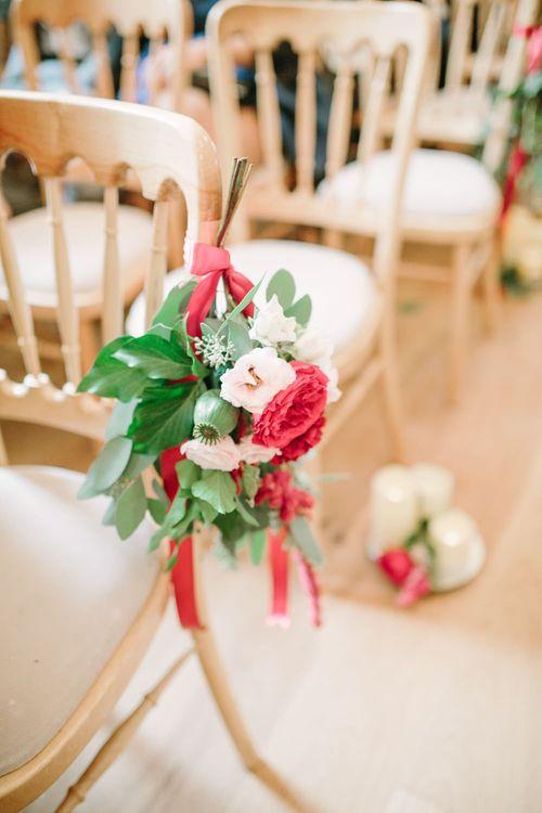 Red Flower Aisle Chair Decor