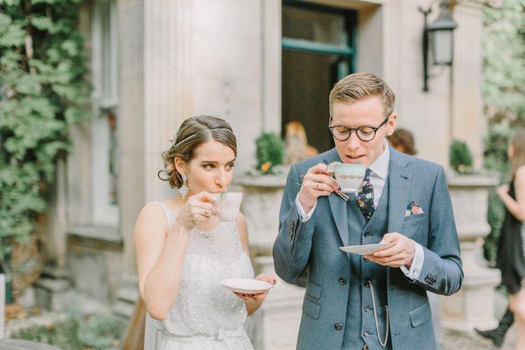 Elegant Bride & Groom Drinking G&Tea