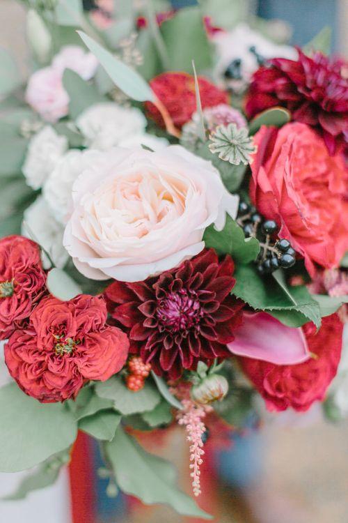 Deep Red Wedding Flowers