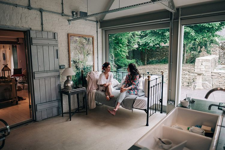 Getting Ready At Stone Barn // Bridesmaids In Pale Pink Dresses // Rue De Seine Bride For A Stone Barn Wedding With Wedding Party In Soft Pink And Navy And Images From Jason Mark Harris With Film By Harris Films