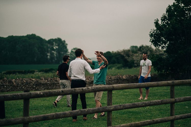 Groom & Groomsmen Before Wedding // Bridesmaids In Pale Pink Dresses // Rue De Seine Bride For A Stone Barn Wedding With Wedding Party In Soft Pink And Navy And Images From Jason Mark Harris With Film By Harris Films