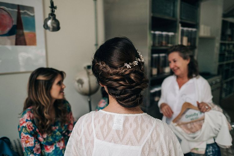 Bride & Bridesmaids Getting Ready // Rue De Seine Bride For A Stone Barn Wedding With Wedding Party In Soft Pink And Navy And Images From Jason Mark Harris With Film By Harris Films