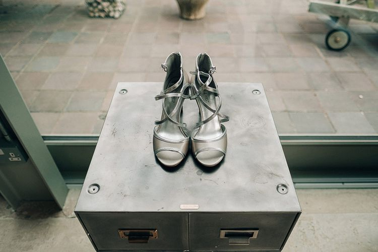 Metallic Wedding Shoes // Rue De Seine Bride For A Stone Barn Wedding With Wedding Party In Soft Pink And Navy And Images From Jason Mark Harris With Film By Harris Films