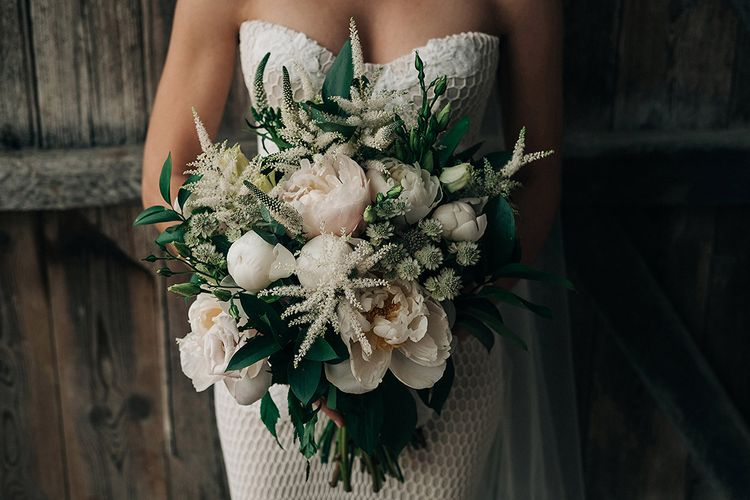 Pink And White Wedding Bouquet // Rue De Seine Bride For A Stone Barn Wedding With Wedding Party In Soft Pink And Navy And Images From Jason Mark Harris With Film By Harris Films