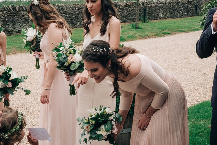 Bridesmaids In Pale Pink Dresses // Rue De Seine Bride For A Stone Barn Wedding With Wedding Party In Soft Pink And Navy And Images From Jason Mark Harris With Film By Harris Films