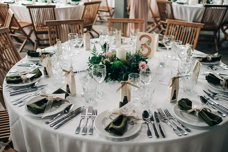 Rustic Table Setting For Wedding // Rue De Seine Bride For A Stone Barn Wedding With Wedding Party In Soft Pink And Navy And Images From Jason Mark Harris With Film By Harris Films