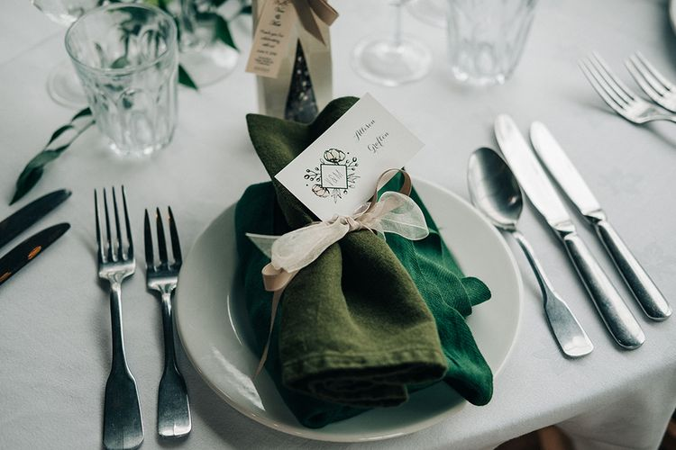 Green Napkins For Wedding Reception // Rue De Seine Bride For A Stone Barn Wedding With Wedding Party In Soft Pink And Navy And Images From Jason Mark Harris With Film By Harris Films