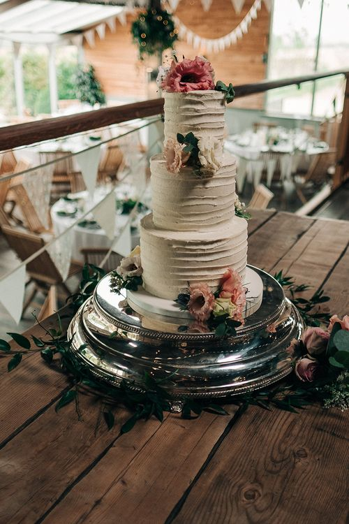 Buttercream Wedding Cake // Rue De Seine Bride For A Stone Barn Wedding With Wedding Party In Soft Pink And Navy And Images From Jason Mark Harris With Film By Harris Films