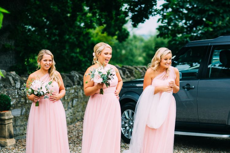 Pink For Her and For Him Bridesmaid Dresses