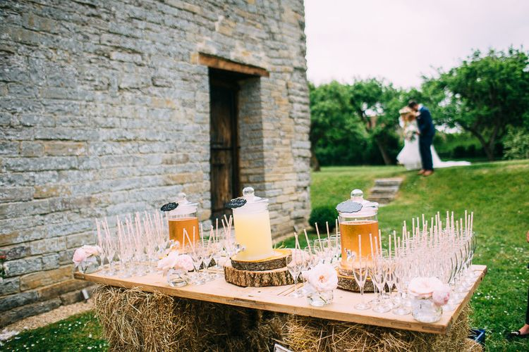Rustic Hay Bale Drinks Station with Dispensers