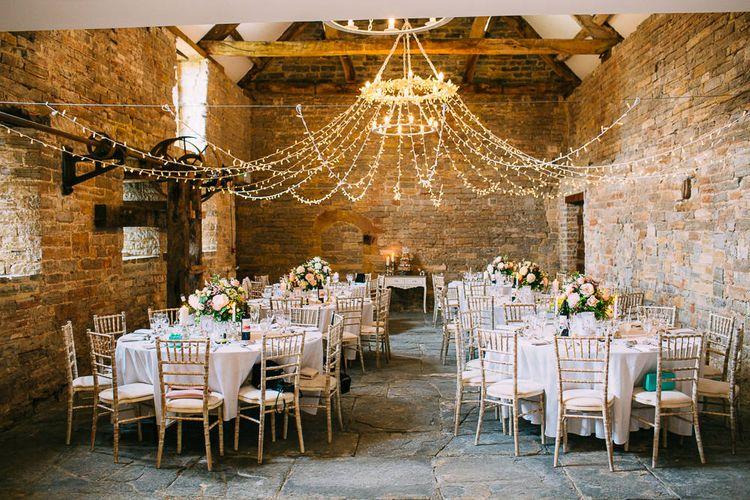 Fairy Light Canopy Rustic Barn Wedding Venue
