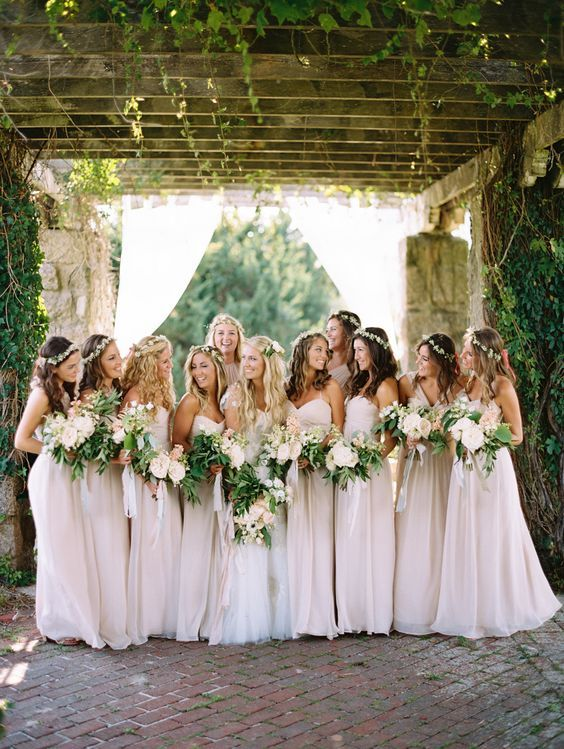 Bridesmaids In Light Pink Dresses